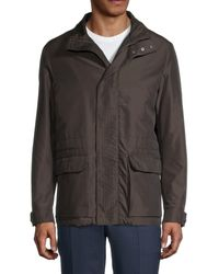 Canali Leather-trim Casual Jacket - Brown