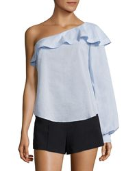 A.L.C. Brielle Ruffled One-shoulder Top - Blue