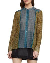 BCBGMAXAZRIA Border Weave Tie-front Shirt - Multicolor