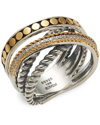 Effy 925 Sterling Silver, 18k Gold & Diamond Ring - Metallic