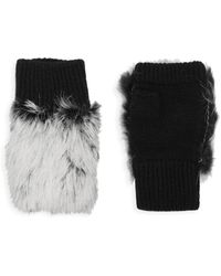 Adrienne Landau Dyed Rabbit Fur-trim Fingerless Gloves - Grey
