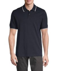 Theory Men's Contrast-tipped Pima Cotton Polo - Space - Size L - Blue