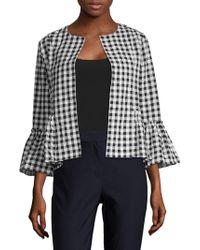 August Silk - Gingham Open-front Jacket - Lyst