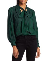 7 For All Mankind Tie-neck Python Print Blouse - Green