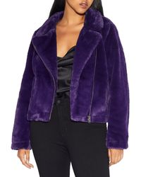 Apparis Tukio Faux Fur Biker Jacket - Purple
