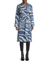 Roberto Cavalli Caban Zebra-print Trench Coat - Blue
