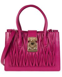 Miu Miu Mini Matelassé Leather Satchel - Pink
