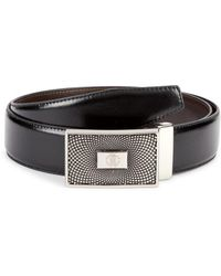 Roberto Cavalli Men's Mirror Snake Logo Plate Leather Belt - Black - Size 36