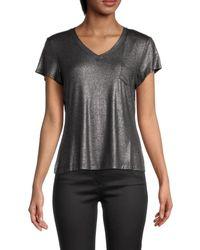Nanette Lepore Women's V-neck Short-sleeve Top - Black Silver - Size S
