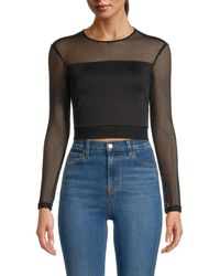 Alice + Olivia Net Cropped Top - Black