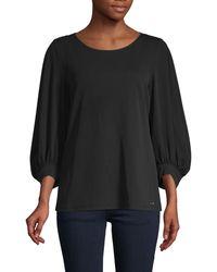 Calvin Klein Puff-sleeve Top - Black