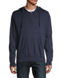 Unsimply Stitched Men's Long-sleeve Cotton Hoodie - Navy - Size S - Blue