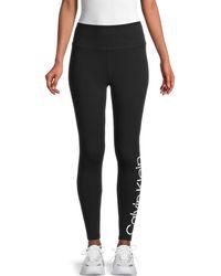 Calvin Klein Logo Graphic Stretch-cotton Leggings - Black