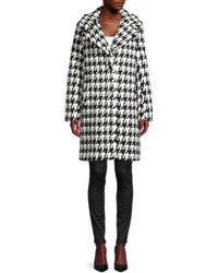 Tahari Houndstooth Faux Fur Coat - Black