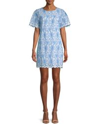 Laundry by Shelli Segal - Embroidered Eyelet Cotton Shift Dress - Lyst