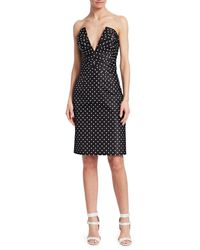 Rubin Singer Ruched Silk Polka Dot Dress - Black