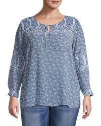 Vince Camuto Women's Plus Mixed-print Top - Navy - Size 2x (18-20) - Blue
