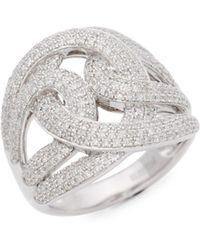 Effy - 925 Sterling Silver Pavé Diamond Twist Ring - Lyst