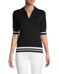 Saks Fifth Avenue Contrast Stripe Johnny Collar Pullover - Black