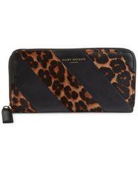 Kurt Geiger K-stripe Leopard-print Calf Hair Wallet - Brown