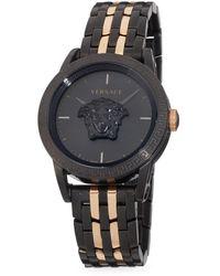 Versace Medusa Ip Black & Rose Goldtone Ip Bracelet Watch