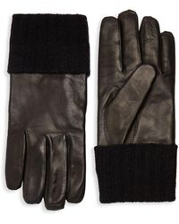 Saks Fifth Avenue Ribbed Cuff Leather Gloves - Brown
