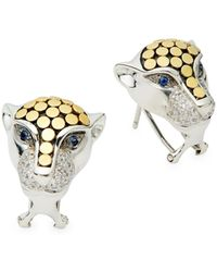 Effy 18k Gold & Sterling Silver Sapphire & Diamond Panther Earrings - Metallic