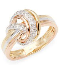 Effy - Tri-tone 14k Gold & Diamond Band Ring - Lyst