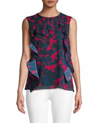 Jason Wu Collection Printed Ruffle Top - Blue