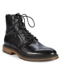 Saks Fifth Avenue Baylor Leather Combat Boots - Black