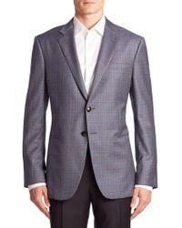 Armani - Taylor-fit Virgin Wool Plaid Blazer - Lyst