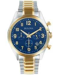 Bulova Two-tone Stainless Steel Chronograph Watch - Blue
