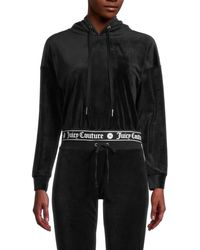 Juicy Couture Women's Logo Cropped Hoodie - Coco Red - Size S - Black