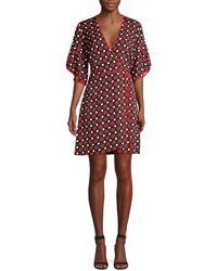 Diane von Furstenberg Cinnamon Geometric Kimono Sleeve Wrap Dress - Black