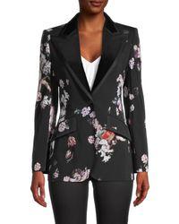 Dolce & Gabbana Mixed-print Peak Lapel Wool-blend Jacket - Black