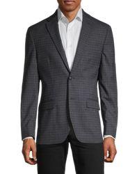 Tommy Hilfiger Standard-fit Tattersall Wool-blend Blazer - Blue
