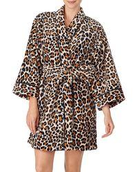 Kate Spade Leopard-print Short Robe - Brown