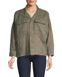 Joie Women's Kendora Linen Cargo Jacket - Fatigue - Size L - Multicolor