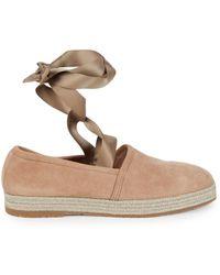Santoni Women's Self-tie Suede Flats - Pink - Size 39 (9)