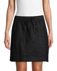 Pure Navy A-line Linen Skirt - White