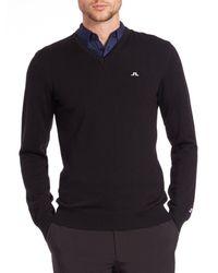 J.Lindeberg Men's Golf Lymann V-neck Sweater - Navy - Size S - Blue