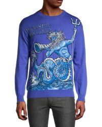 Moschino Scarf-print Wool Jumper - Blue