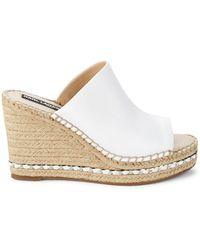 Karl Lagerfeld Carina Leather Wedge Sandals - White