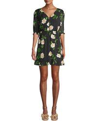The Kooples Floral Short-sleeve Silk Mini A-line Dress - Black