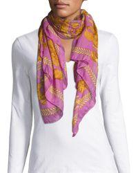 Versace - Breezy Floral Print Scarf - Lyst