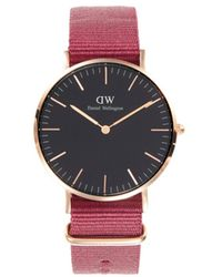 Daniel Wellington Classic Roselyn Stainless Steel & Nylon Strap Watch - Black