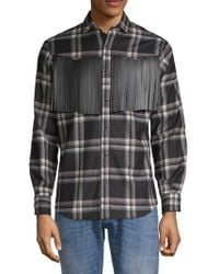 Valentino Plaid Fringe Wool Button-down Shirt - Black