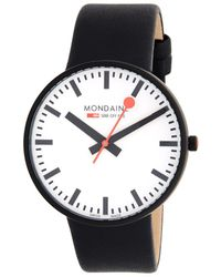 Mondaine - Stainless Steel & Leather Strap Watch - Lyst