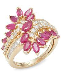 Effy Women's 14k Yellow Gold, Ruby & Diamond Ring/size 7 - Size 7 - Red