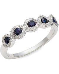 Saks Fifth Avenue - Women's 14k White Gold, Sapphire & Diamond Ring/size 7 - Size 7 - Lyst